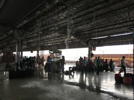 Even train stations are not immune from monsoon showers