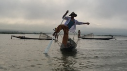 Inle Lake Fisherman adopting the standard pose