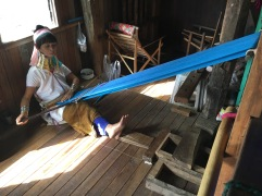 Hand Weaving by one of the Long-necked women of the lake