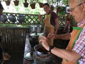 Alfie taste-testing his Beef curry
